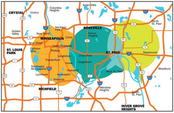 Map showing 3 Twin Cities LPFM station broadcast signals overlapping and reachng across the metro.